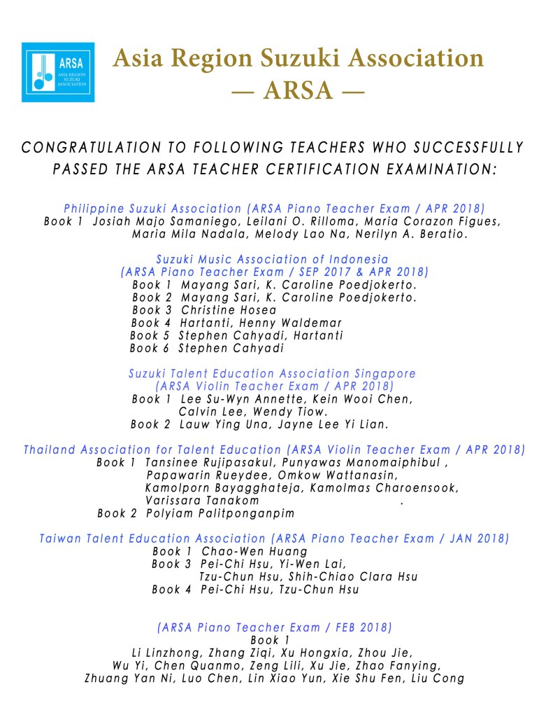 ARSA Certified Teacher